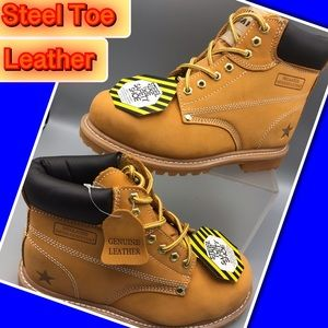 Steel Toe Genuine Men's Leather Work/Safety Boots